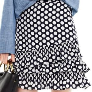 J. Crew polka dot ruffle skirt